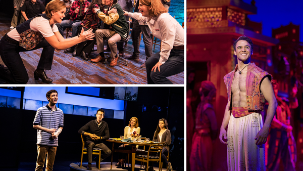 Scenes from Come From Away, Dear Evan Hansen and Aladdin.